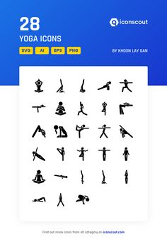 Yoga  Icon Pack - 28 Glyph Icons Leaflet Design, Glyph Icon, Png Icons, Stick Figures, Icon Pack, Icon Font, Glyphs, Yoga Poses, Logan