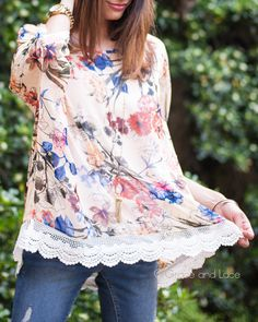 Re-pin it to win it! The Funky Monkey Giveaway!  Win this Floral Angel Wing Top from Grace & Lace! Ends 8/15/15 #graceandlace #lace #floral #flowy