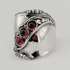 Sterling Silver Garnet ring by hadarjewelry