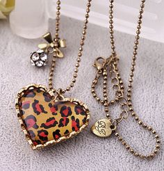 Betsey Johnson** Leopard peach heart pendant long necklace  NEW