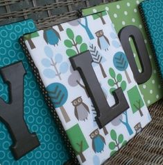 Fabric on canvas with wooden letters. - Popular DIY & Crafts Pins on Pinterest