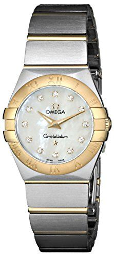 Stainless steel case with a stainless steel bracelet with yellow gold bars. Fixed yellow gold bezel. White mother-of-pearl dial with gold-tone hands and diamond hour markers. Dial Type: Analog. Lumine...