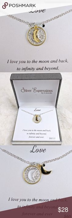 """New LOVE Necklace Silver by LArocks LOVE """"I love you to the moon and back, to infinity and beyond""""  New and gorgeous Necklace 18in Silver Expressions by LArocks Silver Plated New in box Retails $60  Thanks for stopping by Silver Expressions by LArocks Jewelry Necklaces"""