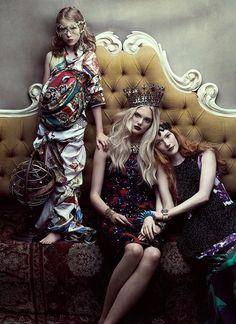 FLARE MAGAZINE Emily Fox, Finlay Moore & Dani in Your Majesty by Chris Nicholls. December 2011, Fiona Green.