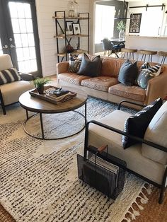 Give your home an inexpensive and affordable refresh with pillows and rugs. Home refresh on a budget. How to change up a space on a budget. New Living Room, My New Room, Home And Living, Living Room 2 Sofas, Neutral Living Rooms, Living Room Ideas, Bright Living Room Decor, Rustic Couch, Unique Living Room Furniture