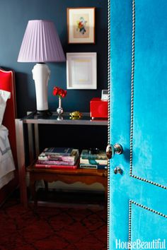 I've always like the idea of painted doors. Suede won't work with young kids, but the color is fun. From House Beautiful