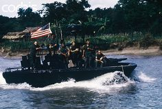 16 Jun 1969, My Tho River, Vietnam --- A U.S. river patrol boat makes a patrol run. --- Image by © Bettmann/CORBIS