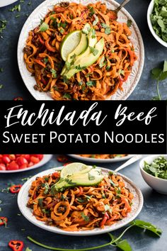 These Enchilada Beef Sweet Potato Noodles are a simple and healthy recipe that's also Whole30. It comes together quickly and is packed with enchilada flavor. We love this one with ground beef, but chicken is really tasty with the enchilada flavor too. Top with some avocado and a lime wedge and you have a gluten free and dairy free dinner the whole family will love! #sweetpotato #sweetpotatonoodles #healthy #whole30 #paleo #glutenfree #dairyfree