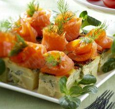 Potatoe and smoked salmon/trout tortilla to start Easter dinner. Peruna-kylmäsavukirjolohitapakset pääsiäispöytään. Ruoka.fi