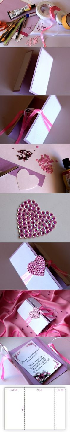 DIY Beautiful Greeting Card with Sequined Heart | www.FabArtDIY.com LIKE Us on Facebook ==> https://www.facebook.com/FabArtDIY