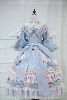 ZJ Story -The Whisper of Versailles- Vintage Classic Lolita OP Dress (Removable Underskirt Version),Lolita Dresses, Old Fashion Dresses, Old Dresses, Vintage Dresses, Harajuku Fashion, Kawaii Fashion, Cute Fashion, Pretty Outfits, Pretty Dresses, Beautiful Dresses
