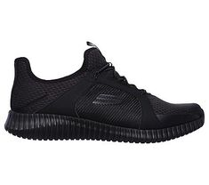 Skechers Men's Elite Flex Memory Foam Slip On Sneakers (Black/Black)