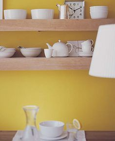 Kitchen shelves with dishes