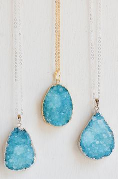 Lovely Clusters - Beautiful Shops: Aqua AGATE Druzy NECKLACE Bohemian