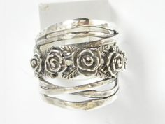 Vintage Sterling Silver Stripes Ring With Rose Flower Band In Center #Band