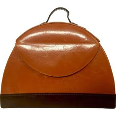 Unique Retro Domed Jewelry Valise (Travel Case): Dark Tan Leather & Ultrasuede