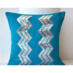 Blue Burlap Pillow Cover With Silver Sequin in Chevron Design Holiday... (2,410 INR) via Polyvore featuring home, home decor, throw pillows, black, decorative pillows, home & living, home décor, blue chevron throw pillows, silver sequin throw pillow and