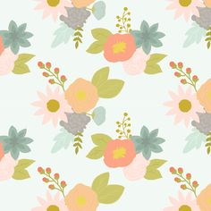 Spring Bouquet fabric by >>mintpeony<< on Spoonflower - custom fabric