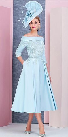 6aa60c93a69bf Stunning Satin Off-the-shoulder Neckline Tea-length A-line Mother Of The Bride  Dress With Beaded Lace Appliques & Pockets