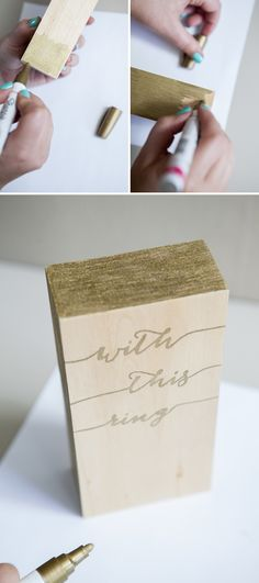 "DIY // Make this adorable ""Wood Block Wedding Ring Holder"" using a Sharpie paint pen!"