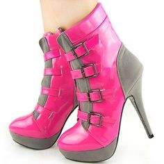Pink platforms pleaser patent silver