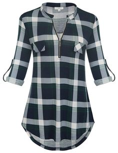 Looking for Jdaxiy Womens Rolled Sleeve Plaid Shirt Zip V Neck Tunic Top Flannel Casual Blouses ? Check out our picks for the Jdaxiy Womens Rolled Sleeve Plaid Shirt Zip V Neck Tunic Top Flannel Casual Blouses from the popular stores - all in one. Plaid Shirt Women, Plaid Shirts, New Shirt Design, Camisa Formal, Light Blue Shirts, Black Women Fashion, Womens Fashion, Business Casual Outfits, Blouses For Women