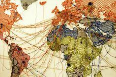 Reena Saini Kallat/Untitled (Map/Drawing)/Goteborg International Biennial of Contemporary Art, Let's Make Art, Political Events, Arts Ed, Gcse Art, Map Art, Lovers Art, Dream Catcher, Art Projects, Art Drawings