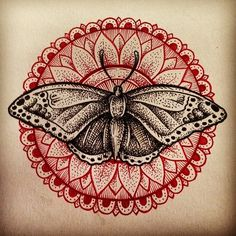 Moth mandala tattoo. This is cool. May be at the base of the neck?