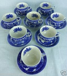 Japan Blue Willow Ware Tea Cups and Saucers 16 piece 8 sets Vintage