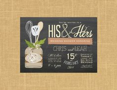 His & Hers Couple's Wedding Shower Invitation by papernpeonies
