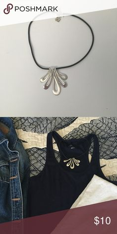 Statement Necklace Shiny and matte silver pieces hang from a black cord.  Like new, never worn. Jewelry Necklaces
