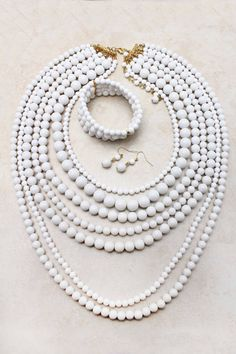 White Elizabeth 3 Piece Set   Emma Stine Jewelry Necklaces