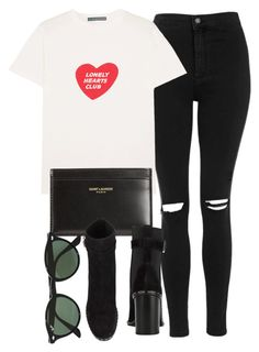 """Untitled #6921"" by laurenmboot ❤ liked on Polyvore featuring Topshop, AlexaChung, Yves Saint Laurent, rag & bone and Ray-Ban"