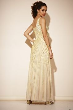 Embellished Dress Prom Cocktail Wedding Vintage Gold Plunge Gatsby Gown 'TEONA' Dress Prom, Prom Dresses, Formal Dresses, Wedding Dresses, Wedding Vintage, Embellished Dress, Gatsby, Cocktails, Gowns