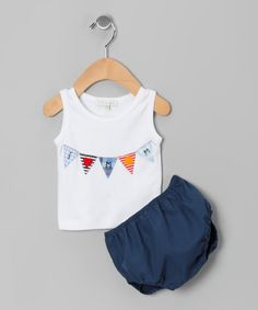 Look what I found on #zulily! White & Navy 'I Love Mom' Pima Tank & Diaper Cover - Infant by Victoria Kids #zulilyfinds