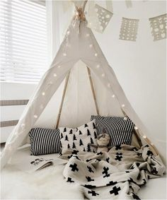 """black and white tipi corner kids room"""