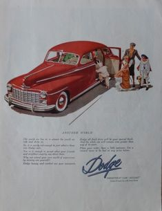 1947 Dodge Car  40 s Print ad  Color Illustration  Fantastic  scarce old ad   another world