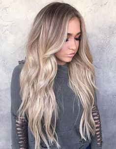 Blonde with a tapped out root trending hairstyles, hairstyles haircuts, hair cuts, long Hair Color And Cut, Ombre Hair Color, Blonde Ombre, Brown Blonde, Blonde Highlights, Baylage Blonde, Blonde Shades, Curly Blonde, Blonde Hair Images