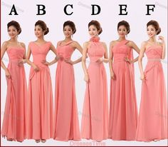 Coral bridesmaid dress  long evening dress / by dressestime, $94.99