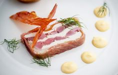 Ham hock and chicken terrine with tonka bean mayonnaise and toasted brioche by Graham Campbell Ham Hock Terrine, Chicken Terrine, Graham, Mousse, Savoy Cabbage, Great British Chefs, Cabbage Leaves, Starters, Ham Hock
