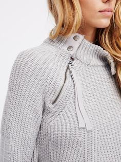 Hannah Ferguson || FP Patches Of Me Cozy Knit Sweater (Heather Grey)