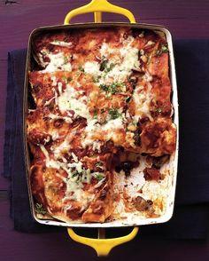 Mushroom & Black Bean Tortilla Casserole | 21 Tasty Vegetarian Casseroles, add chopped scallions to top, add corn