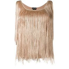 Tom Ford fringed top ($1,950) ❤ liked on Polyvore featuring tops, beige top, fringe tops and tom ford