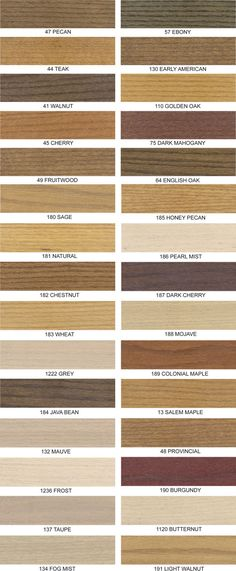 Wood Stain Finishes - love the Fog Mist and Light Walnut