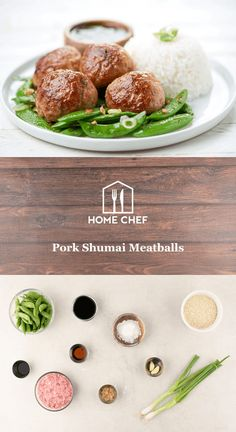 Pork Shumai Meatballs with ponzu dipping sauce and snap peas They're served up with a side of rice and garlic-sautéed snap peas for a fresh, healthier take on classic pork shumai. Chef Recipes, Appetizer Recipes, Cooking Recipes, Appetizers, Hello Chef, Meat Seasoning, Pork Meatballs, Ground Meat Recipes, Food Tags