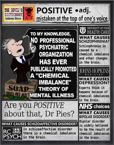 Auntie Psychiatry: anti psychiatry cartoon blog. Dr Pies stays positive. Chemical Imbalance, University Of Utah, Paradigm Shift, Schizophrenia, Psychiatry, Creative Outlet, Staying Positive, Auntie, Doctors