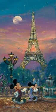 "*MICKEY & MINNIE ~ ""Evening in Paris"" by James Coleman - Limited Edition of 195 on Hand-Embellished Canvas, 24x12. #Disney #MickeyMouse #MinnieMouse #DisneyFineArt #JamesColeman"