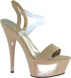 Johnathan Kayne Shoes - Perfect for swimsuit competition or with your favorite gown this platform shoe is designed to make your legs look long and lean. Synthetic upper with disappearing clear acrylic ankle strap. - #johnathankayneshoes #taupeshoes