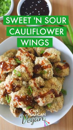 These are the best BAKED Crispy Sweet and Sour Cauliflower Wings! The recipe is so easy to make and they're breaded with a seasoned panko breadcrumb mixture. After the cauliflower is coated and baked they're topped with a simple homemade sweet and sour sauce. These crispy cauliflower bites can be made in the oven or in the air fryer! Instructions for both are included in this recipe. Perfect as an appetizer or with rice! #BakedCauliflower #CrispyCauliflower #CauliflowerWings… Vegetarian Dinners, Vegan Dinner Recipes, Delicious Vegan Recipes, Vegan Snacks, Vegetarian Recipes, Healthy Recipes, Vegan Meals, Vegan Food, Air Fyer Recipes