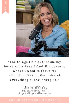 Learning to hear God's voice in the midst of all the noise. Great interview with Erin Cluley (from Joyce Meyer Ministries). Find The Intertwined Life Podcast wherever you get your podcasts! #Christianpodcast #hearingfromGod #Growinginfaith #enoucouragmentformoms #faithquotes #inspiringchristianquotes Christian Families, Christian Women, Christian Quotes, Joyce Meyer Ministries, Marriage And Family, Faith Quotes, Interview, Religious Quotes, Christianity Quotes